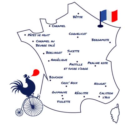 Bonbon regional francais Calisson Nougat Caramel Pastille Guimauve Sucette naturelle
