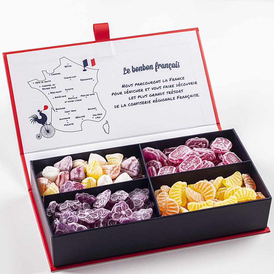 Ecrin Dégustation Le Chaudron Gourmand assortiment de bonbon de sucre cuit d'antan berlingot, coquelicot, violette, quartier d'orange et de citron Le Bonbon