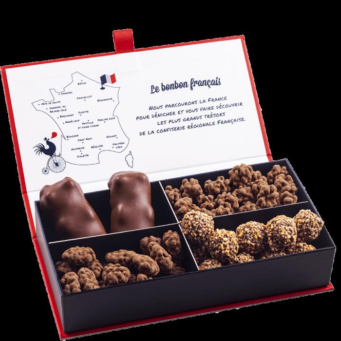 coffret degustation show show chocolat assortiment de chocolate ourson guimauve au chocolat, grain de cafe torréfié, tentation d'amande, sac de bille le bonbon francais