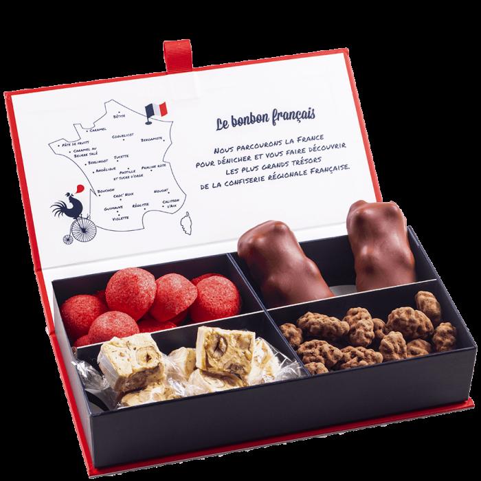 Ecrin Dégustation Tchin-Tchin et Cocooning assortiment nougat, tentation d'amande, fraise gelifie, ourson chocolat guimauve Le Bonbon Francais