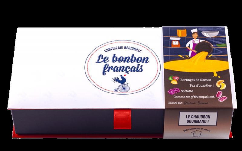 Ecrin cadeau Le Chaudron Gourmand, Berlingot de Nantes, quartier de citron et d'orange, bonbon à la violette, Bonbon au coquelicot