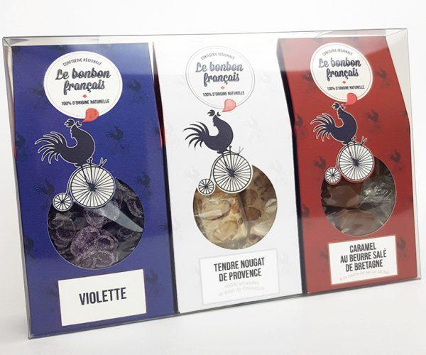 Le Bonbon Francais Drapeau gourmand Multi Delices Violette Nougat Caramel coupe