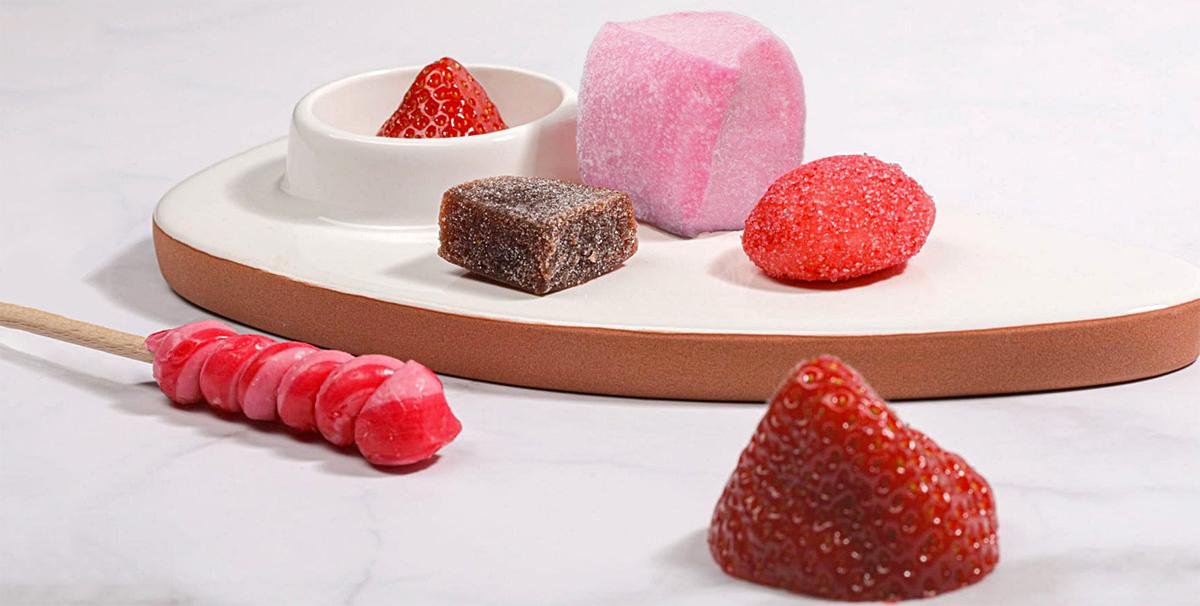 guimauve, sucette et pate de fruit et fraise artisanale